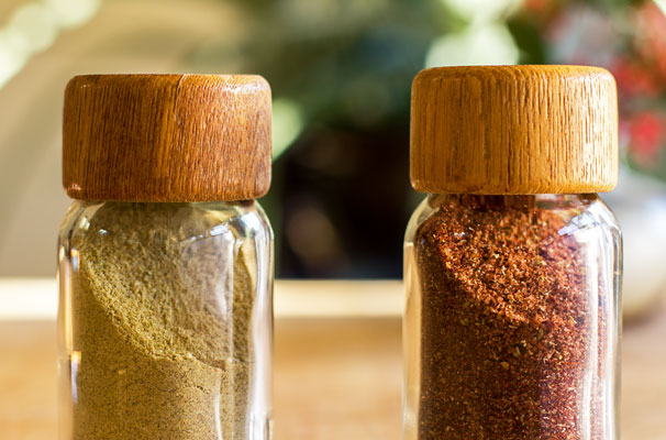 Spice blends made with red and green chile powders, a variety of spices and herbs | mjskitchen.com