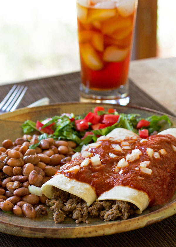 Restaurant style beef and chorizo enchiladas with red chile sauce  mjskitchen.come  @MJsKitchen