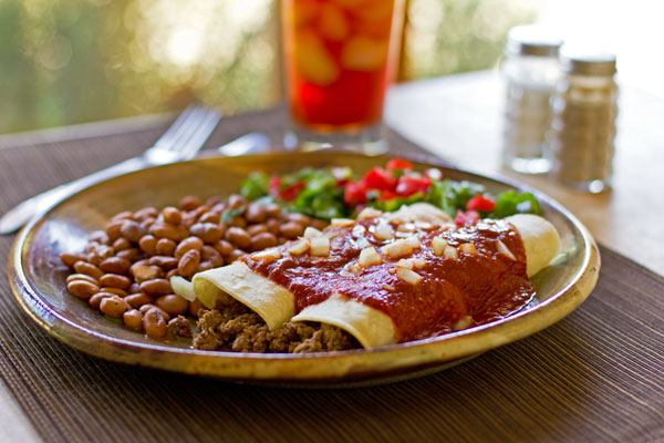 Restaurant style enchiladas with beef, chorizo and red chile sauce mjskitchen.com