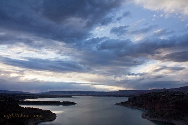 A sunset view of Abiquiu Reservoir in northern New Mexico mjskitchen.com