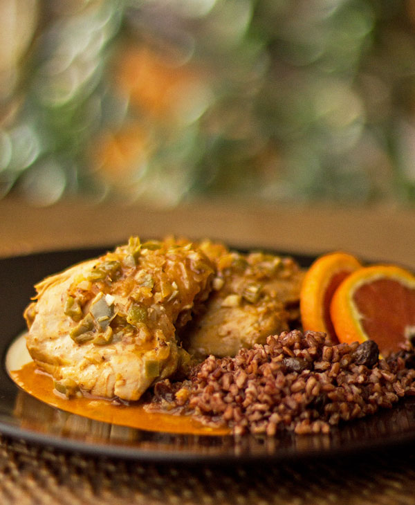 Chicken braised in orange juice and varioius aromatics and spices | mjskitchen.com