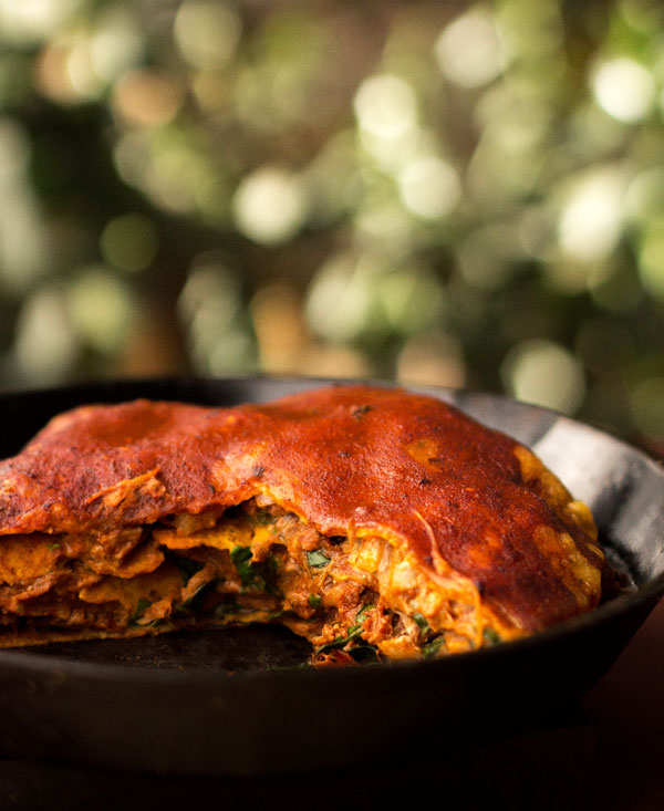 Red chile enchiladas made with leftover carne adovada or pulled pork | mjskitchen.com