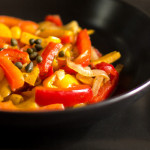 A peperonata stew with sweet peppers, tomatoes, capers   mjskitchen.com