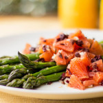 A simple asparagus with an orange and olive relish | mjskitchen.com