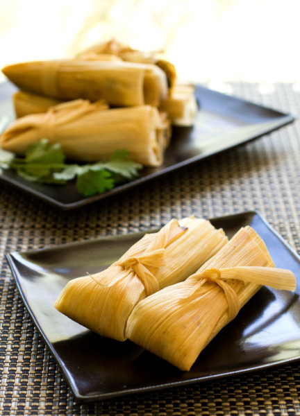 Vegan Black Bean Tamales with a chipotle masa and spicy mango sauce. #vegan #tamales @mjskitchen mjskitchen.com