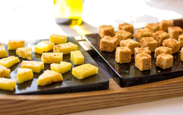 Soapstone serving platter with coconut crusted tofu and pineapple | mjskitchen.com