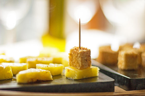 Coconut crusted tofu with pineapple and sweet chili sauce makes a great appetizer | mjskitchen.com
