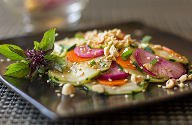 A pickled vegetable salad of lightly pickled cucumbers, daikon radish, and carrots | mjskitchen.com