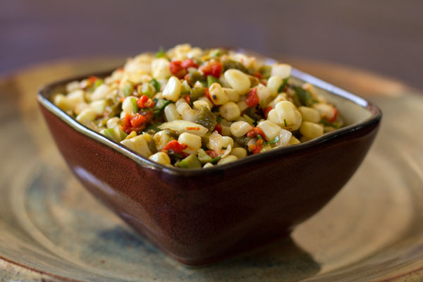 A spicy and tasty green chile corn relish with olives and cilantro #green #chile @mjskitchen | mjskitchen.com