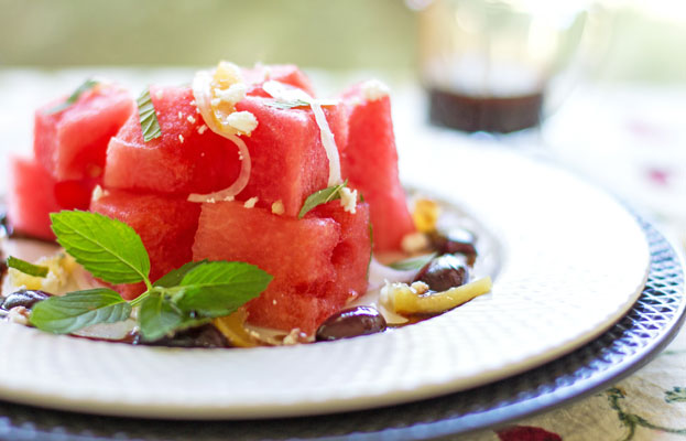 A cool and refreshing watermelon salad with preserved lemon, mint and olives | mjskitchen.com