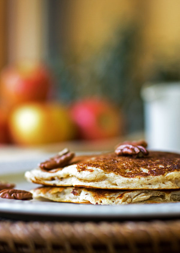 Fluffy apple buttermilk pancakes with apples, pecans and a touch of cardamom #pancakes #apple #recipe @mjskitchen