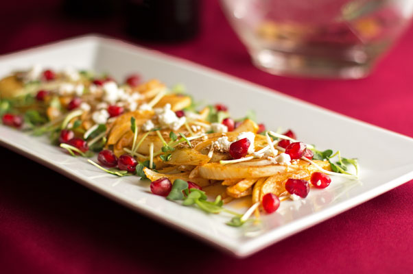 Roasted fennel with sprouts, feta, pomegranate seeds, and a drizzle of cranberry balsamic | mjskitchen.com