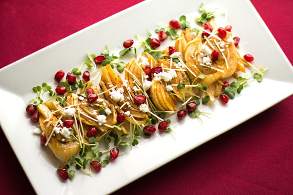 A delightful fennel salad of roasted fennel,feta, pomegranate seeds, sprouts, and a drizzle of cranberry balsamic #fennel #salad @mjskitchen mjskitchen.com