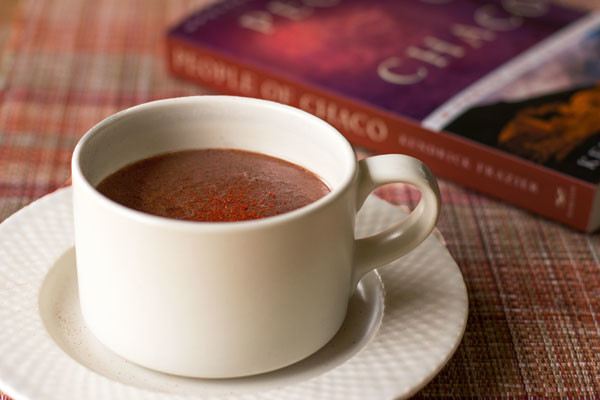 Chocolate almond milk with atole (blue cornmeal), red chile and other spices | mjskitchen.com