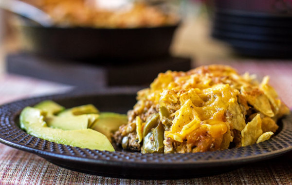 It's like Frito Pie - Chorizo and eggplant topped off with tortilla chips and cheese | mjskitchen.com