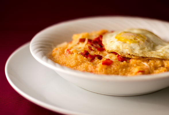Grits with red chile paste, roasted red chile and cheese | mjskitchen.com
