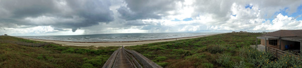 Panorama of beach, ocean and beach house on Mustang Island, Texas | mjskitchen.com