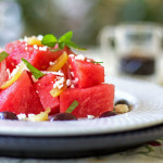 A cool and refreshing watermelon salad with preserved lemon, mint and olives @mjskitchen #watermelon #preserved #lemon