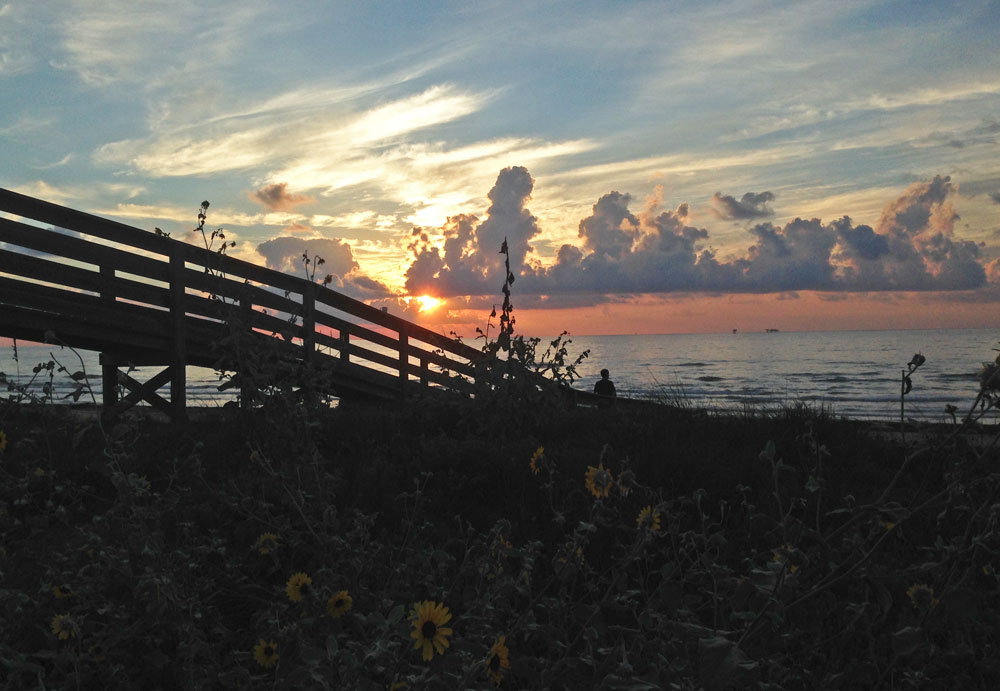 Sunrise from deck of beach house on Mustang Island, TX | mjskitchen.com