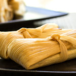 Using corn husks strips to tie tamales | mjskitchen.com