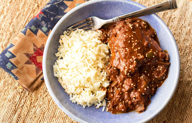 Chicken Mole' - Chicken smothered in a New Mexico red mole' sauce #mole #chicken #recipe | mjskitchen.com