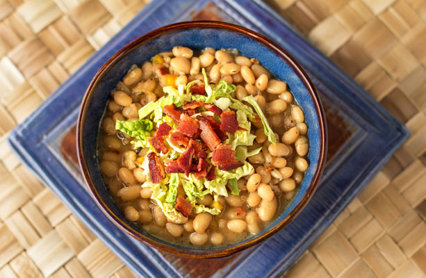 Navy beans cooked with vegetables, herbs and a toiuch of spice. #beans #navy @mjskitchen