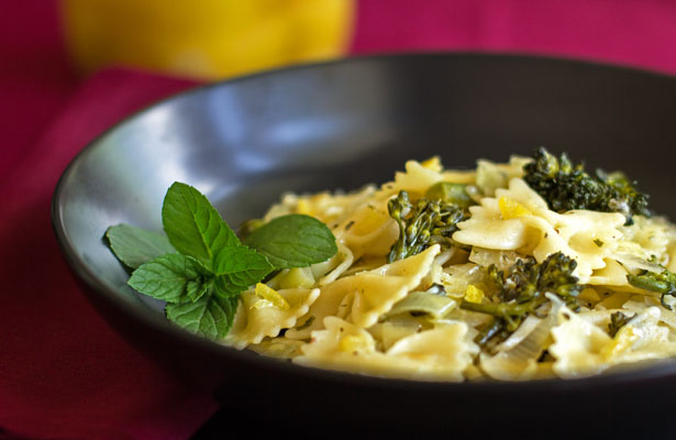 A quick, easy, healthy pasta dish with fresh broccoli, leek, herbs and preserved lemon | mjskitchen.com