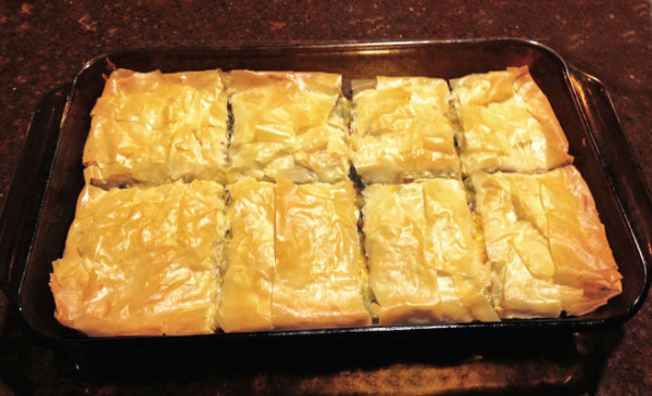 Swiss Chard Pie: A hearty vegetarian dish with swiss chard wrapped in phyllo pastry | mjskitchen.com