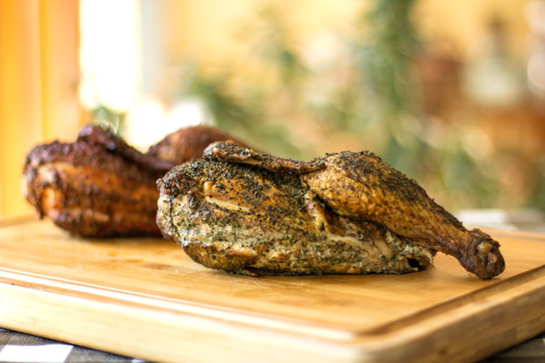 A delicious hickory smoked chicken with an herb dry rub @mjskitchen