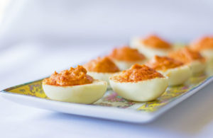 A spicy deviled egg seasoned with gochujang, Korean chili paste | mjskitchen.com