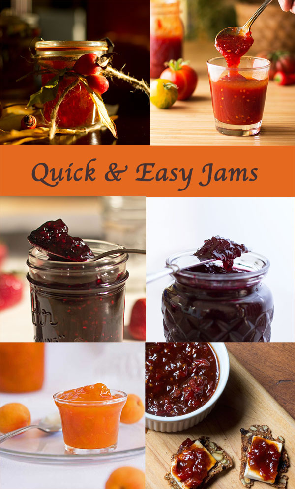 A roundup of quick easy jams recipes that yield 1 to 2 jars of jam, take less than an hour to make and require no storebought pectin. #jams @mjskitchen