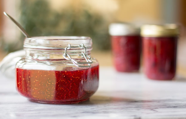 Strawberry Fig Preserves made with figs, sugar and strawberry jello. So easy and so good. mjskitchen.com
