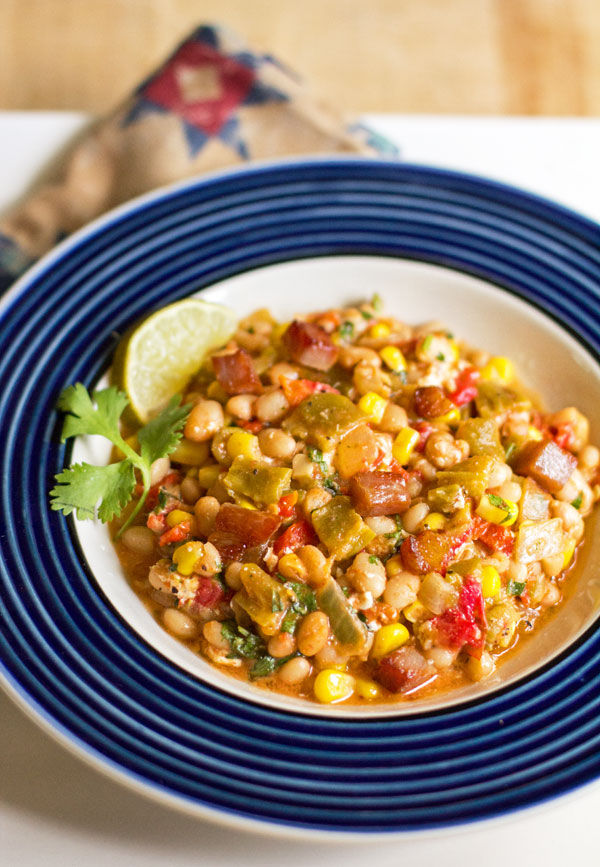 A hearty one pot meal with navy beans, green chile, corn, tomatoes and a host of other goodness. #green #chile #beans @mjskitchen