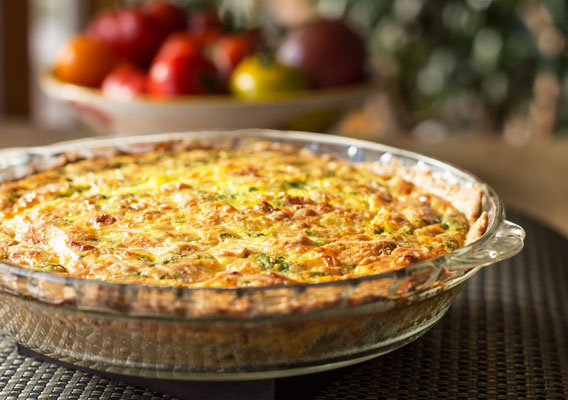 Recipe for a Green Chile Quiche with Pinon Crust, two cheeses, and bacon (if you desire) | mjskitchen.com