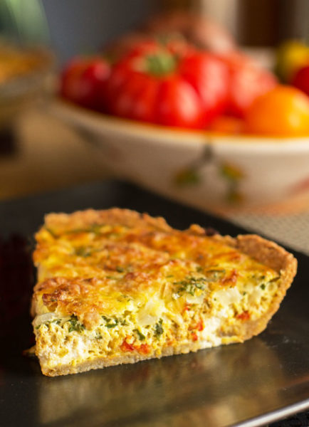 Recipe for a Hatch Green Chile Quiche with Pinon Crust, two cheeses, and bacon (if you desire) #hatchchile #quiche @mjskitchen