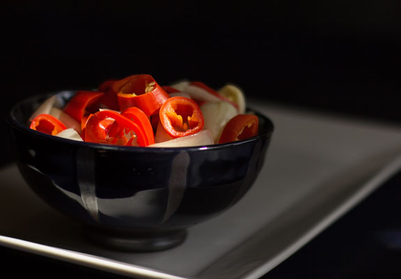 A quick and easy pickled chile peppers and onions with a hint of anise | mjskitchen.com