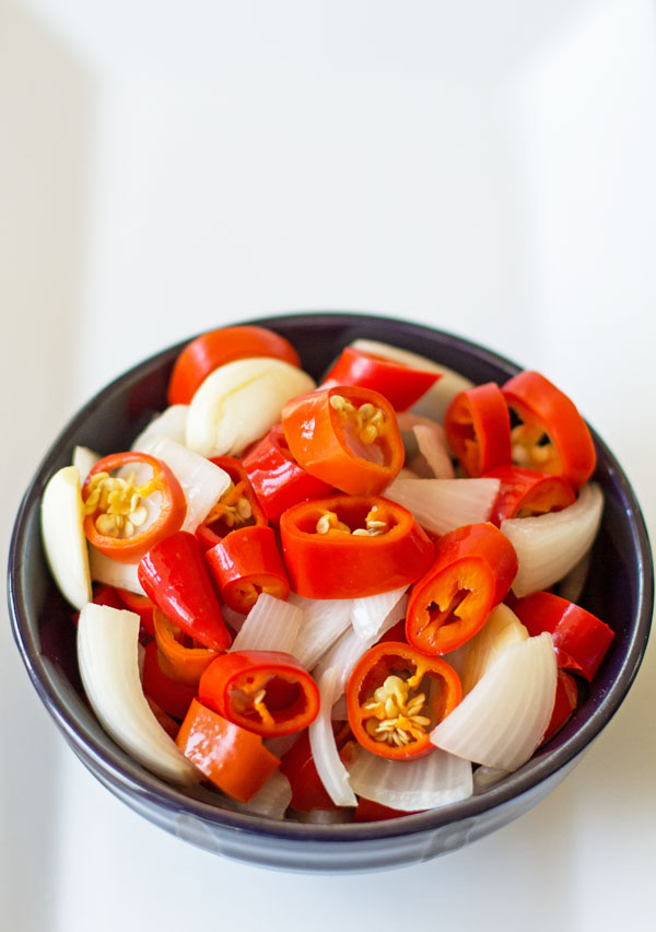 A quick and easy pickled chile peppers and onions with a hint of anise, coriander and cumin #pickled #peppers #anise @mjskitchen | mjskitchen.com