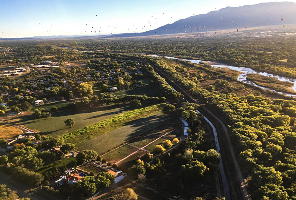 Flying over the Rio Grande at the ABQ International Balloon Fiesta 2016