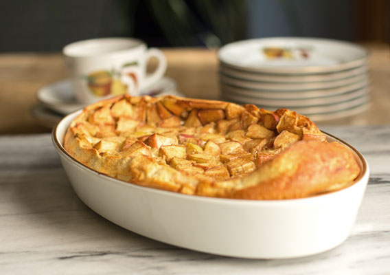 Apple clafoutis is a light apple dessert with chopped apples and a semi-sweet custard | mjskitchen.com