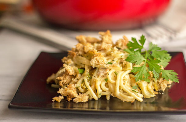 Spicy chicken tetrazzini made with smoked chicken and roasted green chile | mjskitchen.com