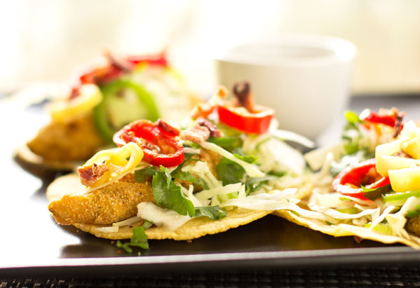 Fried green tomato tacos with cabbage slaw, pickled peppers, and remoulade sauce #tacos #vegetarian @mjskitchen