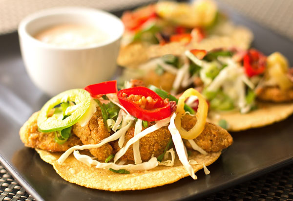 Fried green tomato tacos with cabbage slaw, pickled peppers, and remoulade sauce #tacos #vegetarian #greentomatoes @mjskitchen