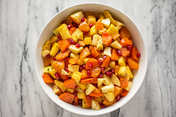A winter fruit salad made with pineapple, persimmon, citrus and pomegranate) @mjskitchen | mjskitchen.com