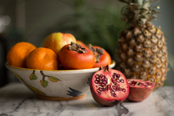 A winter fruit salad made with pineapple, persimmon, citrus and pomegranate) | mjskitchen.com