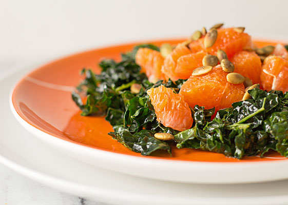 Easy, breezy salad with kale, Cara Cara orange, and pepitas (pumpkin seeds) with a light dressing | mjskitchen.com