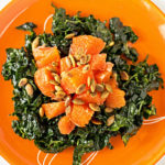 Easy, breezy salad with kale, Cara Cara orange, toasted pumpkin seeds and a light dressing | mjskitchen.com