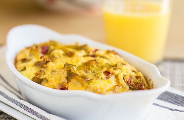 A quick and easy Green Chile Cheese Breakfast Bake with the toast baked in. A great use for stale bread or cornbread. | mjskitchen.com