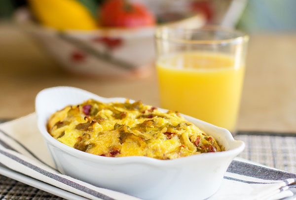 A quick and easy Green Chile Cheese Breakfast Bake with the toast baked in. A great use for stale bread or cornbread. #greenchile #leftovers | mjskitchen.com