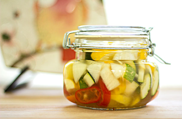 An assortment of vegetables pickled in olive brine | mjskitchen.com