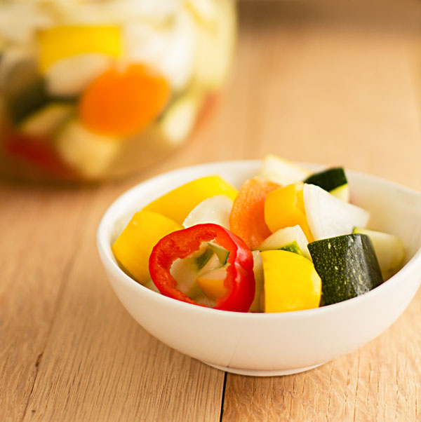 An assortment of vegetables pickled in olive brine #pickled #vegetables @mjskitchen
